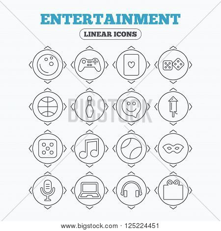 Linear icons with direction arrows. Entertainment icons. Game console joystick, notebook and microphone symbols. Poker playing card, dice and mask thin outline signs. Musical note and smile in speech bubble. Circle buttons.