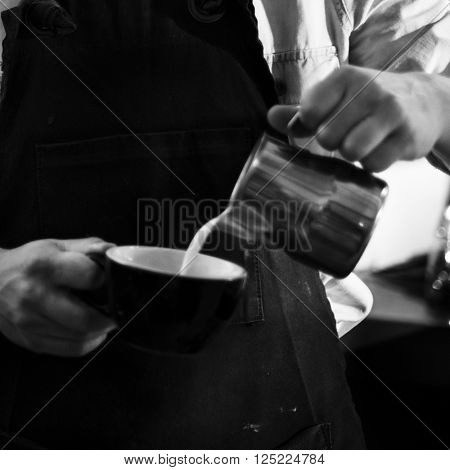 Pour Pouring Portafilter Latte Coffee Barista Milk Concept
