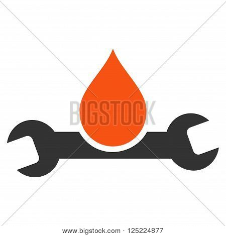 Plumbing vector icon. Plumbing icon symbol. Plumbing icon image. Plumbing icon picture. Plumbing pictogram. Flat orange and gray plumbing icon. Isolated plumbing icon graphic.
