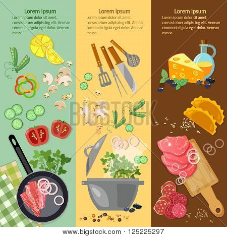 Cooking food banner fresh vegetables ingredients meat vector illustration