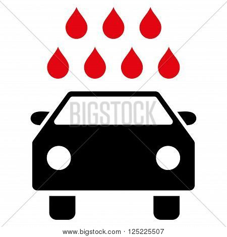 Car Shower vector icon. Car Shower icon symbol. Car Shower icon image. Car Shower icon picture. Car Shower pictogram. Flat intensive red and black car shower icon. Isolated car shower icon graphic.