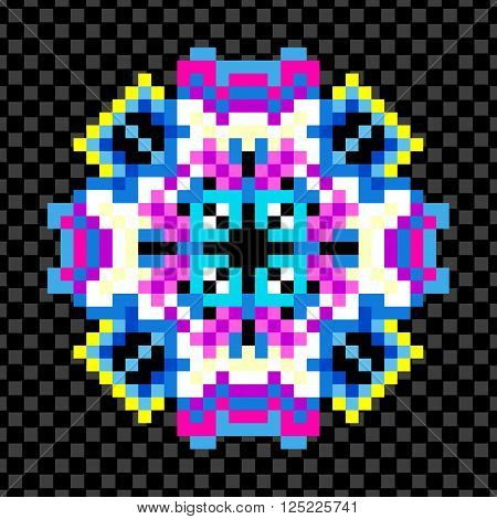 beautiful mandala of pixels on a black background