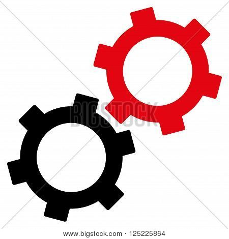 Gears vector icon. Gears icon symbol. Gears icon image. Gears icon picture. Gears pictogram. Flat intensive red and black gears icon. Isolated gears icon graphic. Gears icon illustration.