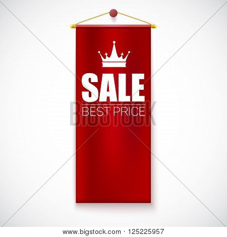 Sale Poster with with vertical flag and crown. Sale and discounts template. Clearance Sale Banner, graphics sales, sale flyer, sale background. Vector illustration