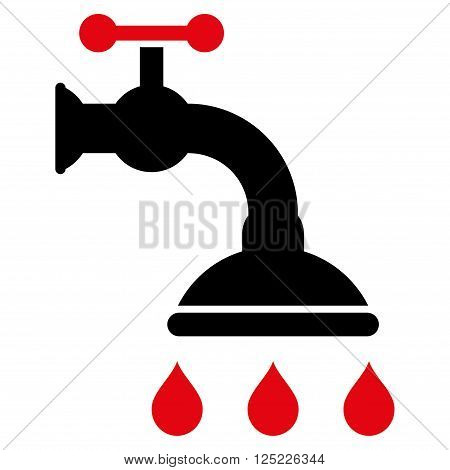 Shower Tap vector icon. Shower Tap icon symbol. Shower Tap icon image. Shower Tap icon picture. Shower Tap pictogram. Flat intensive red and black shower tap icon. Isolated shower tap icon graphic.