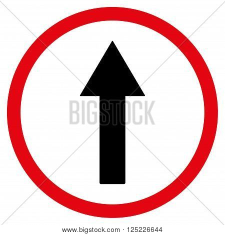 Up Rounded Arrow vector icon. Up Rounded Arrow icon symbol. Up Rounded Arrow icon image. Up Rounded Arrow icon picture. Up Rounded Arrow pictogram. Flat intensive red and black up rounded arrow icon.