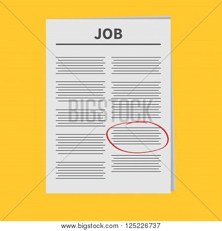 Job Newspaper icon Red pen skrible mark Flat design Isolated Yellow background Vector illustration
