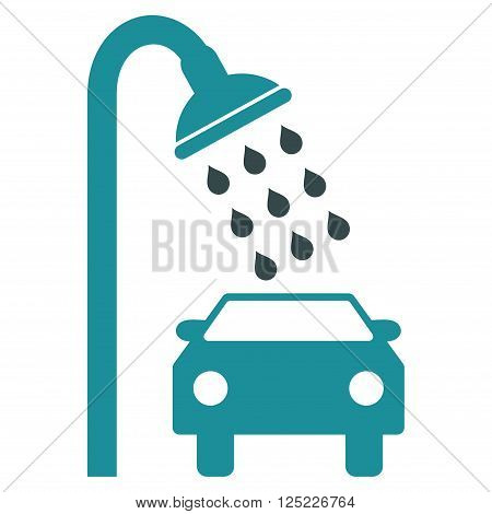 Car Shower vector icon. Car Shower icon symbol. Car Shower icon image. Car Shower icon picture. Car Shower pictogram. Flat soft blue car shower icon. Isolated car shower icon graphic.