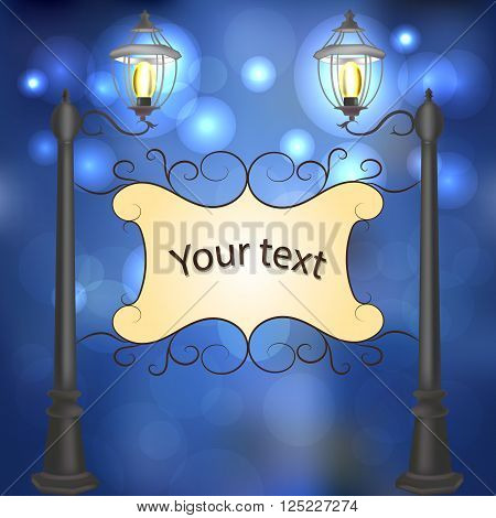 Evening landscape with vintage lampposts and frame for your text.