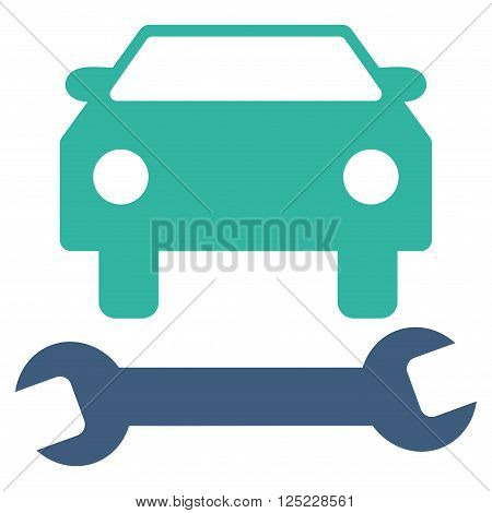 Car Repair vector icon. Car Repair icon symbol. Car Repair icon image. Car Repair icon picture. Car Repair pictogram. Flat cobalt and cyan car repair icon. Isolated car repair icon graphic.