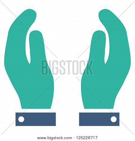 Care Hands vector icon. Care Hands icon symbol. Care Hands icon image. Care Hands icon picture. Care Hands pictogram. Flat cobalt and cyan care hands icon. Isolated care hands icon graphic.