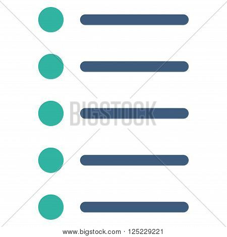 Items vector icon. Items icon symbol. Items icon image. Items icon picture. Items pictogram. Flat cobalt and cyan items icon. Isolated items icon graphic. Items icon illustration.