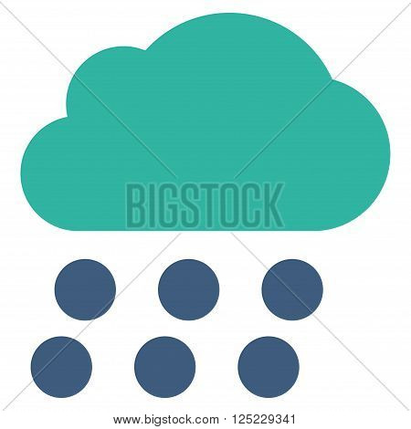 Rain Cloud vector icon. Rain Cloud icon symbol. Rain Cloud icon image. Rain Cloud icon picture. Rain Cloud pictogram. Flat cobalt and cyan rain cloud icon. Isolated rain cloud icon graphic.