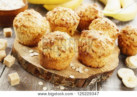 Banana Muffins With Oat Flakes