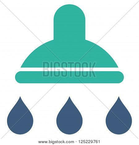 Shower vector icon. Shower icon symbol. Shower icon image. Shower icon picture. Shower pictogram. Flat cobalt and cyan shower icon. Isolated shower icon graphic. Shower icon illustration.