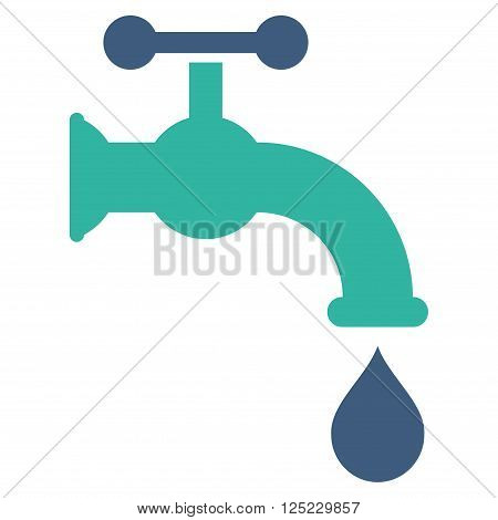 Water Tap vector icon. Water Tap icon symbol. Water Tap icon image. Water Tap icon picture. Water Tap pictogram. Flat cobalt and cyan water tap icon. Isolated water tap icon graphic.