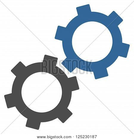 Gears vector icon. Gears icon symbol. Gears icon image. Gears icon picture. Gears pictogram. Flat cobalt and gray gears icon. Isolated gears icon graphic. Gears icon illustration.