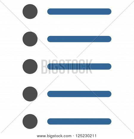 Items vector icon. Items icon symbol. Items icon image. Items icon picture. Items pictogram. Flat cobalt and gray items icon. Isolated items icon graphic. Items icon illustration.