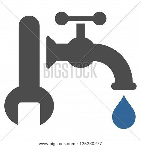 Plumbing vector icon. Plumbing icon symbol. Plumbing icon image. Plumbing icon picture. Plumbing pictogram. Flat cobalt and gray plumbing icon. Isolated plumbing icon graphic.