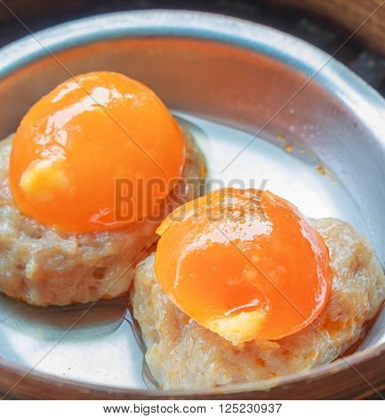 chinese dim sum dumplings in Bamboo Basket