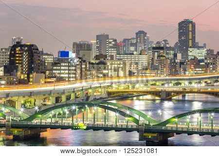 skyline with Highway in Tokyo, Japan at night