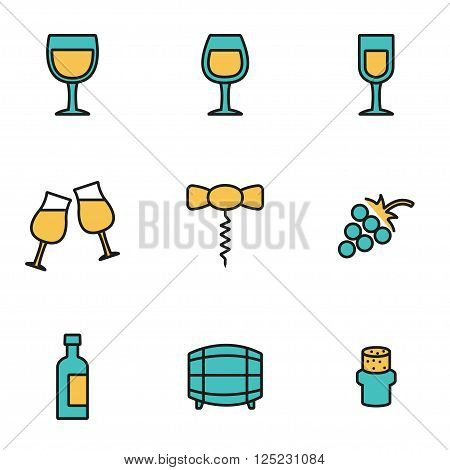 Trendy flat line icon pack for designers and developers. Vector line wine icon set