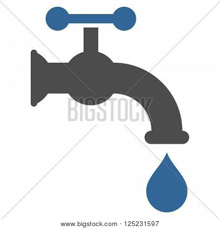 Water Tap vector icon. Water Tap icon symbol. Water Tap icon image. Water Tap icon picture. Water Tap pictogram. Flat cobalt and gray water tap icon. Isolated water tap icon graphic.