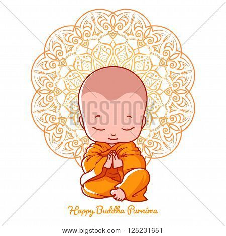 Little meditating monk. Greeting card for Buddha purnima. Vector cartoon illustration on a white background with mandala.