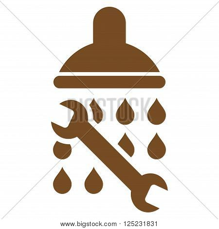 Shower Plumbing vector icon. Shower Plumbing icon symbol. Shower Plumbing icon image. Shower Plumbing icon picture. Shower Plumbing pictogram. Flat brown shower plumbing icon.