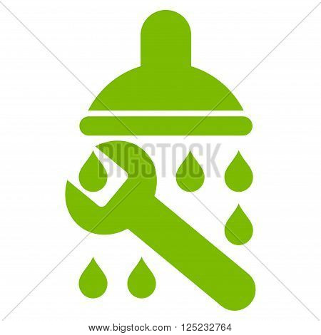 Shower Plumbing vector icon. Shower Plumbing icon symbol. Shower Plumbing icon image. Shower Plumbing icon picture. Shower Plumbing pictogram. Flat eco green shower plumbing icon.