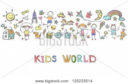 Hand-drawn sketch  on the theme of childhood. Vector illustration for children design.