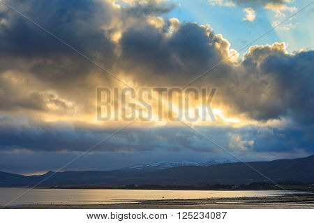 Landscape of mountain at Cromarty Firth in Invergordon Scotland