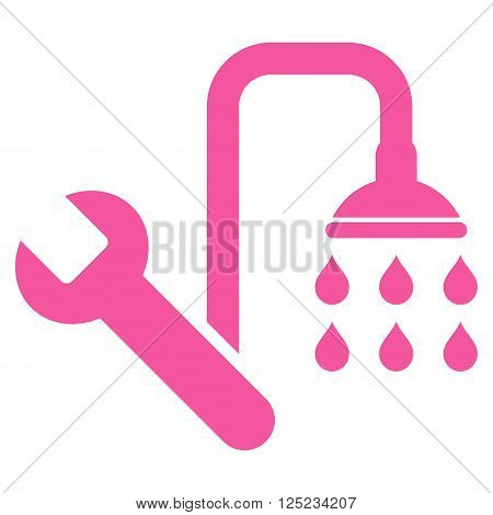 Plumbing vector icon. Plumbing icon symbol. Plumbing icon image. Plumbing icon picture. Plumbing pictogram. Flat pink plumbing icon. Isolated plumbing icon graphic. Plumbing icon illustration.