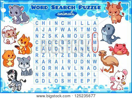 Educational game for kids word search. Word search puzzle with animals. Worksheet for class or at home with the kids. A4 size. Horizontal orientation.