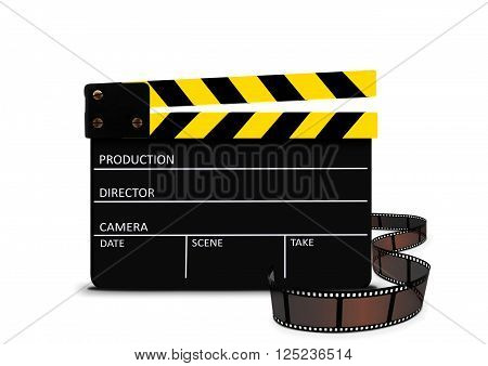 Image of clapperboard and film strip over white