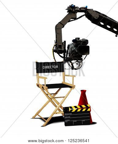 Director seat and movie making equipment over white