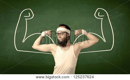 A young man with beard and glasses posing in front of green background, imagining how he would look like with big muscles, illustrated by minimalist white drawing concept.