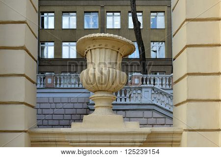 Moscow, Russia - March 14, 2016. Detail of decoration of English Chkalov school on a Zemlyanoi val street - sample Stalinist architecture