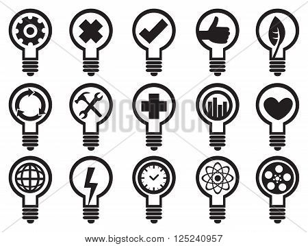 Incandescent light bulbs with conceptual symbols. Black and white vector icon set isolated on white background.