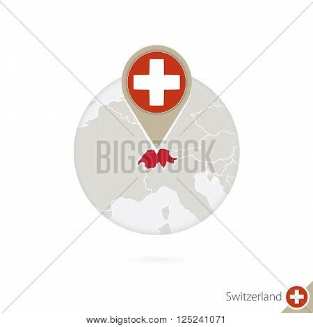 Switzerland Map And Flag In Circle. Map Of Switzerland, Switzerland Flag Pin. Map Of Switzerland In