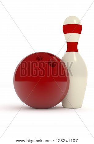 Bowling pin with a red bowling ball on a white background 3d sports image