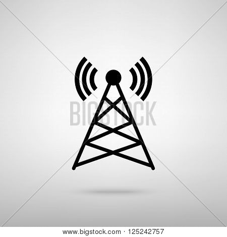 Antenna sign. Black with shadow on gray.