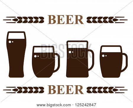 isolated beer mug set icons on white background