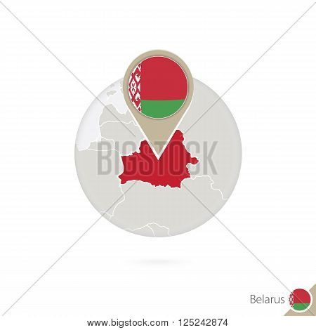 Belarus Map And Flag In Circle. Map Of Belarus, Belarus Flag Pin. Map Of Belarus In The Style Of The