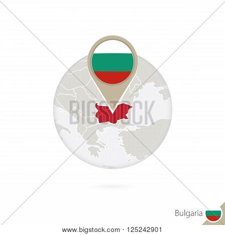 Bulgaria Map And Flag In Circle. Map Of Bulgaria, Bulgaria Flag Pin. Map Of Bulgaria In The Style Of