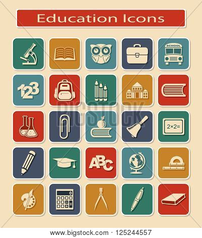 Set of Education Icons. Symbols of Educational Objects on a Light Background.