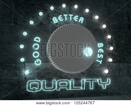 balance adjust between good and best quality. regulator with neon shine scale. 3D rendering