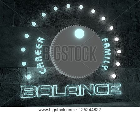 balance adjust between career and family. regulator with neon shine scale. 3D rendering