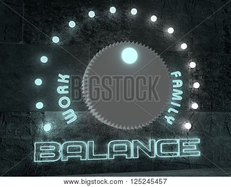 balance adjust between work and family. regulator with neon shine scale. 3D rendering