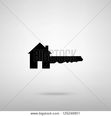 Home Key sign. Black with shadow on gray.